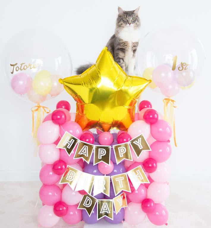わんこもにゃんこもお城バルーン誕生日バルーン