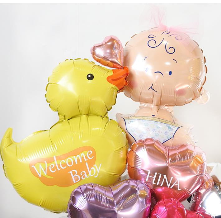 【出産祝い】★お名前入り ベイビーダック ハグ&キス ピンク バルーンアレンジ(卓上タイプ)【送料込み】