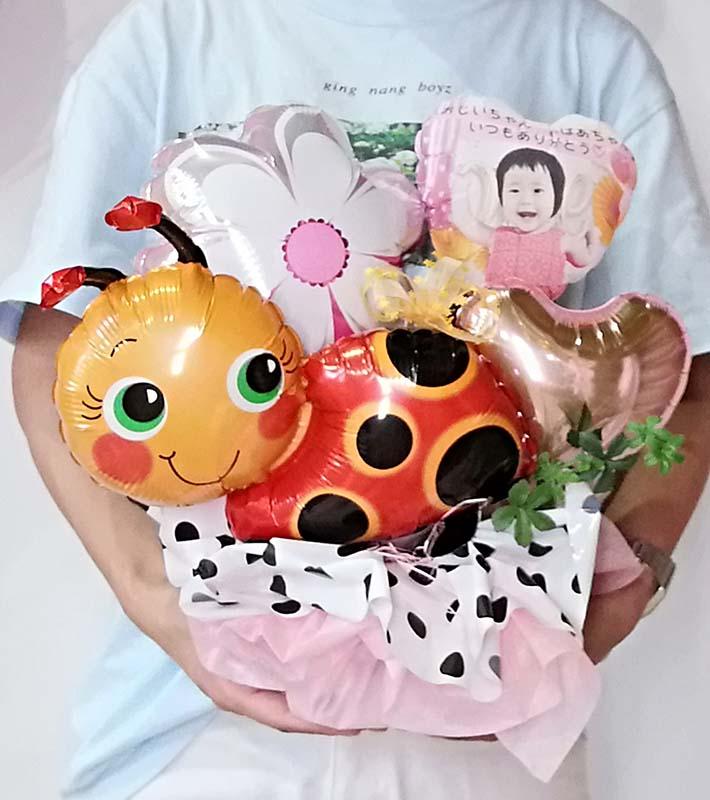 【長寿のお祝い、敬老の日】<br>★写真プリントバルーン入り 幸せのてんとう虫アレンジ