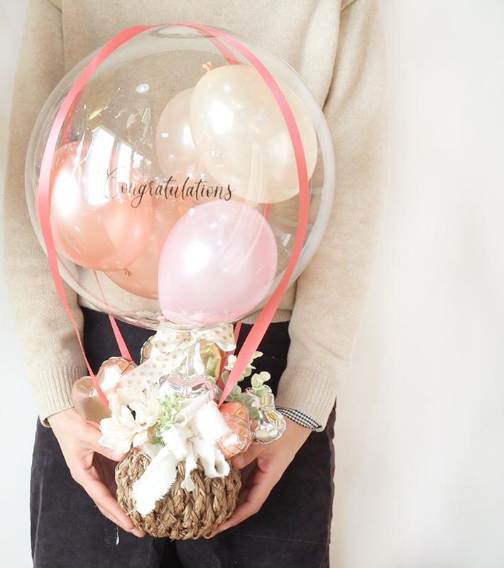 【開店・開院・開園・周年祝い】<br>★店名入り<br>ピンクメテオール 気球アレンジ(卓上タイプ)【送料込み】