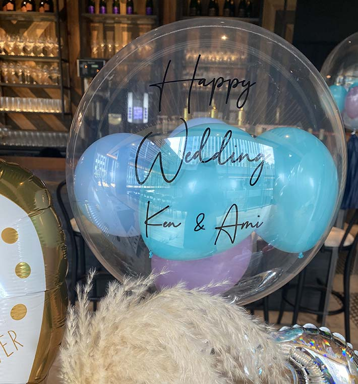 結婚式ブルーでかっこいいお祝いバルーン