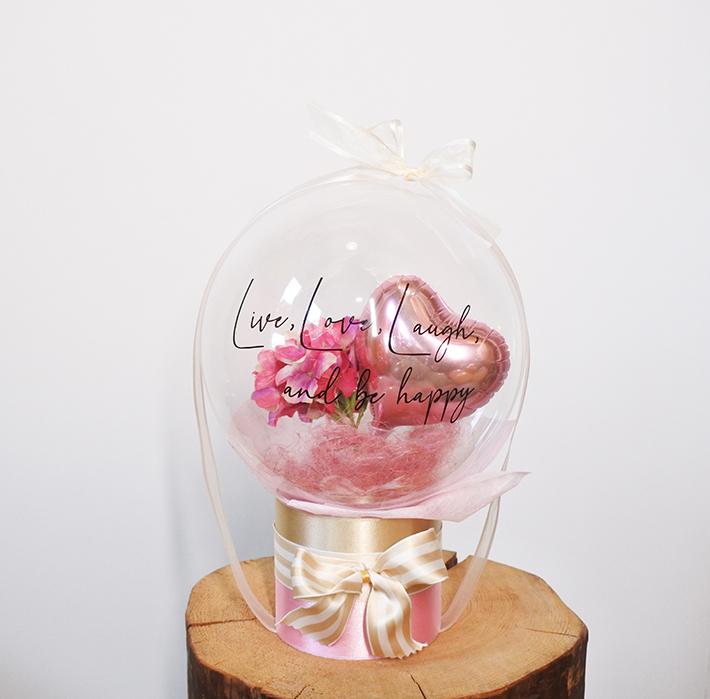 結婚祝い ピンクあじさいのバルーンフラワー