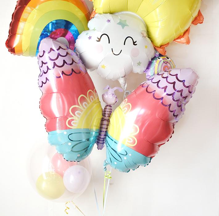 【出産祝い】レインボーファミリーバルーンブーケ〈補充用ガス缶1本プレゼント〉【送料込み】