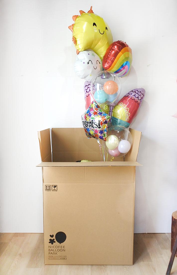 【歯科医院、小児科の開店・周年祝い】★医院名入り レインボーファミリーバルーンブーケ〈補充用ガス缶1本プレゼント〉